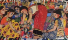 Figurative Acrylic Art Painting title 'Wedding Rituals' by artist Anjani Reddy