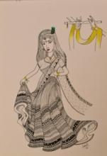 Religious Pen Art Drawing title 'Radha mesmerized in memory of Krishna' by artist Sakshi Baranwal