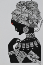 Portrait Pen-ink Art Drawing title 'African Tribal Lady' by artist Sakshi Baranwal