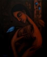 Figurative Mixed-media Art Painting title Blue Dream by artist Uttam Bhattacharya