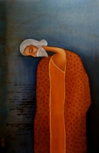 Figurative Acrylic Art Painting title Dream Poet by artist Uttam Bhattacharya