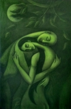 Figurative Mixed-media Art Painting title 'The Dream Lover' by artist Uttam Bhattacharya