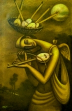 Figurative Mixed-media Art Painting title 'The Dream Seller 2' by artist Uttam Bhattacharya