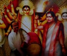 Figurative Watercolor Art Painting title 'Durga Series - 11 .' by artist Sudipta Karmakar