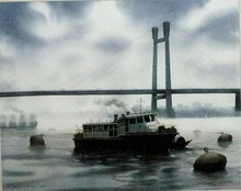 Seascape Watercolor Art Painting title 'Kolkata15. Size - 22x27. Water Color On' by artist Sudipta Karmakar
