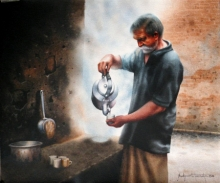 Figurative Watercolor Art Painting title 'Tea Stall.' by artist Sudipta Karmakar