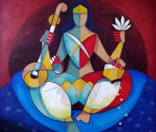 Religious Mixed-media Art Painting title 'Vidya Lakshmi' by artist Satyendra Rane