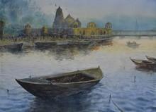 Seascape Watercolor Art Painting title Radiant Energy by artist Avishkar Vispute