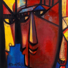 Figurative Acrylic-oil Art Painting title The Milan by artist Paresh Maity