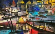 art, painting, oil, canvas, cityscape, banaras ghat