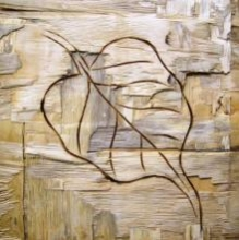 Somen Debnath | Mixed-media Painting title Leafy Wood I on wood | Artist Somen Debnath Gallery | ArtZolo.com