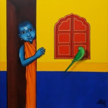Figurative Acrylic Art Painting title 'Gurukul Boy With Friendly Parrot' by artist Nitin Ghangrekar