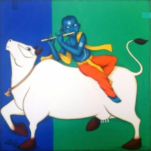Religious Acrylic Art Painting title 'Playing Flute With Cow' by artist Nitin Ghangrekar