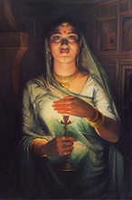 Figurative Oil Art Painting title 'Light In The Darkness' by artist Shyam Verma