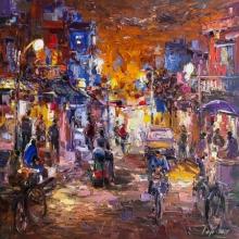 Cityscape Acrylic Art Painting title Untitled 3 by artist Tejinder Kanda
