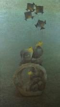 contemporary Acrylic Art Painting title 'Burning Desire 2' by artist Vaishnavi Naik