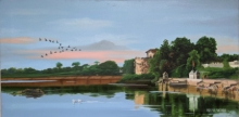 Cityscape Oil Art Painting title 'Samantasar Lake' by artist Parimal Vaghela