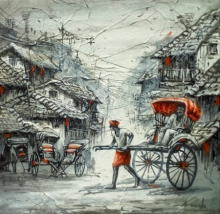 Cityscape Acrylic Art Painting title 'Rickshaw Puller In Kolkata 2' by artist Ananda Das