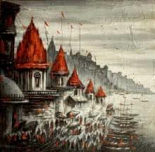 Cityscape Acrylic Art Painting title 'Varanasi 1' by artist Ananda Das