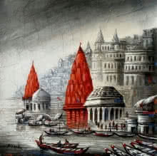 Cityscape Acrylic Art Painting title 'Varanasi 2' by artist Ananda Das