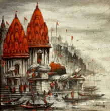 art, painting, acrylic, canvas, cityscape, varanasi