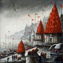 Cityscape Acrylic Art Painting title 'Varanasi 4' by artist Ananda Das