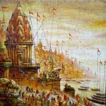 Cityscape Acrylic Art Painting title 'Varanasi 5' by artist Ananda Das