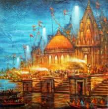 Cityscape Acrylic Art Painting title 'Varanasi 6' by artist Ananda Das