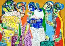 Figurative Acrylic Art Painting title Market by artist Arun K Mishra