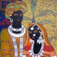 Festive Rhythm - 59   Painting by artist Anuradha Thakur   acrylic   Canvas