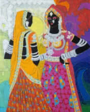 Figurative Acrylic Art Painting title 'Ethnic Serendipity 170' by artist Anuradha Thakur