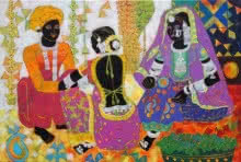 Figurative Acrylic Art Painting title 'Ethnic Serendipity 171' by artist Anuradha Thakur