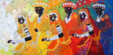 Figurative Acrylic Art Painting title Ethnic Serendipity 173 by artist Anuradha Thakur