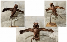 Mixedmedia Sculpture titled 'The Night King Owl' by artist Vinit Barot