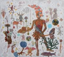 contemporary Acrylic Art Painting title The Following by artist Joydip Sengupta