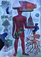 contemporary Mixed-media Art Painting title The Recluse by artist Joydip Sengupta