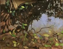 Landscape Oil Art Painting title Beauty of reflection by artist Sandeep Maharana