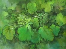 Landscape Postercolor Art Painting title Rainy plant by artist Sandeep Maharana