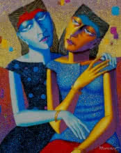 Figurative Acrylic-oil Art Painting title 'Friends' by artist Dayanand Kamakar