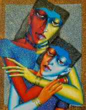 Dayanand Kamakar | Acrylic-oil Painting title Mother And Child 2 on Canvas | Artist Dayanand Kamakar Gallery | ArtZolo.com