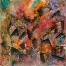 Abstract Acrylic Art Painting title 'Cityscape' by artist Amit Pithadia
