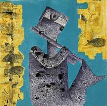 Figurative Acrylic Art Painting title Music by artist Amit Pithadia
