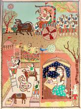 Religious Acrylic Art Painting title Rukmini Letter To Krishna by artist Avinash Karn