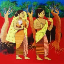 Religious Acrylic Art Painting title 'Divine Couple' by artist Prakash Pore