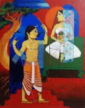 Prakash Pore | Acrylic Painting title Sita Swayamwar on Canvas