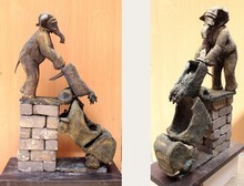 Mixedmedia Sculpture titled 'For Swach Bharat' by artist Nishchay Thakur