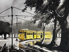 Cityscape Acrylic Art Painting title 'Vintage Tram of Old Calcutta' by artist Arpan Bhowmik