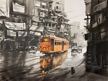 Cityscape Acrylic Art Painting title 'Tram in Calcutta Street' by artist Arpan Bhowmik