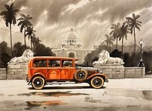 Cityscape Acrylic Art Painting title 'Vintage Victoria Memorial in Calcutta' by artist Arpan Bhowmik