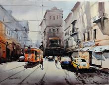 Cityscape Acrylic Art Painting title Tram In Calcutta Street 2 by artist Arpan Bhowmik